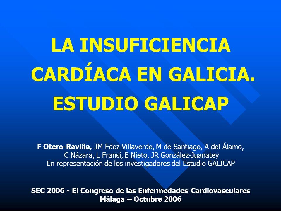 LA INSUFICIENCIA CARDÍACA EN GALICIA. ESTUDIO GALICAP F Otero-Raviña, JM Fdez Villaverde, M de Santiago, A del Álamo, C Názara, L Fransi, E Nieto, JR