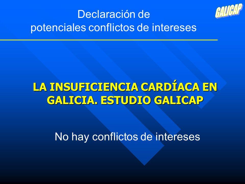 CONCLUSIONES * La IC con función sistólica preservada es la forma más prevalente de IC en Galicia, y está asociada con hipertensión * El control de la PA es muy limitado * En pacientes con cardiopatía isquémica, el sexo determina la realización de coronariografía * La prescripción de fármacos no es la óptima * Es necesario promover estrategias para mejorar la asistencia a estos pacientes desde la Atención Primaria