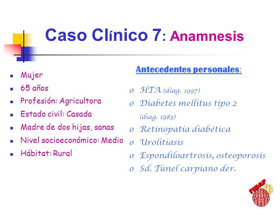 Antecedentes personales : oHTA (diag. 1997) oDiabetes mellitus tipo 2 (diag. 1983) oRetinopatía diabética oUrolitiasis oEspondiloartrosis, osteoporosi