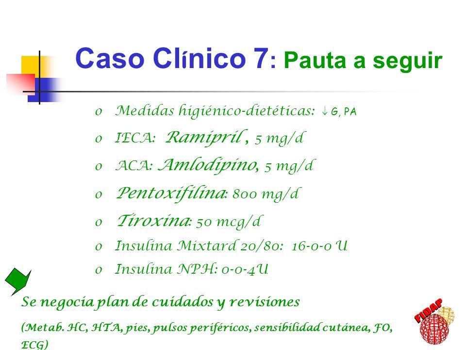 Caso Cl í nico 7 : Pauta a seguir Se negocia plan de cuidados y revisiones (Metab. HC, HTA, pies, pulsos periféricos, sensibilidad cutánea, FO, ECG) o