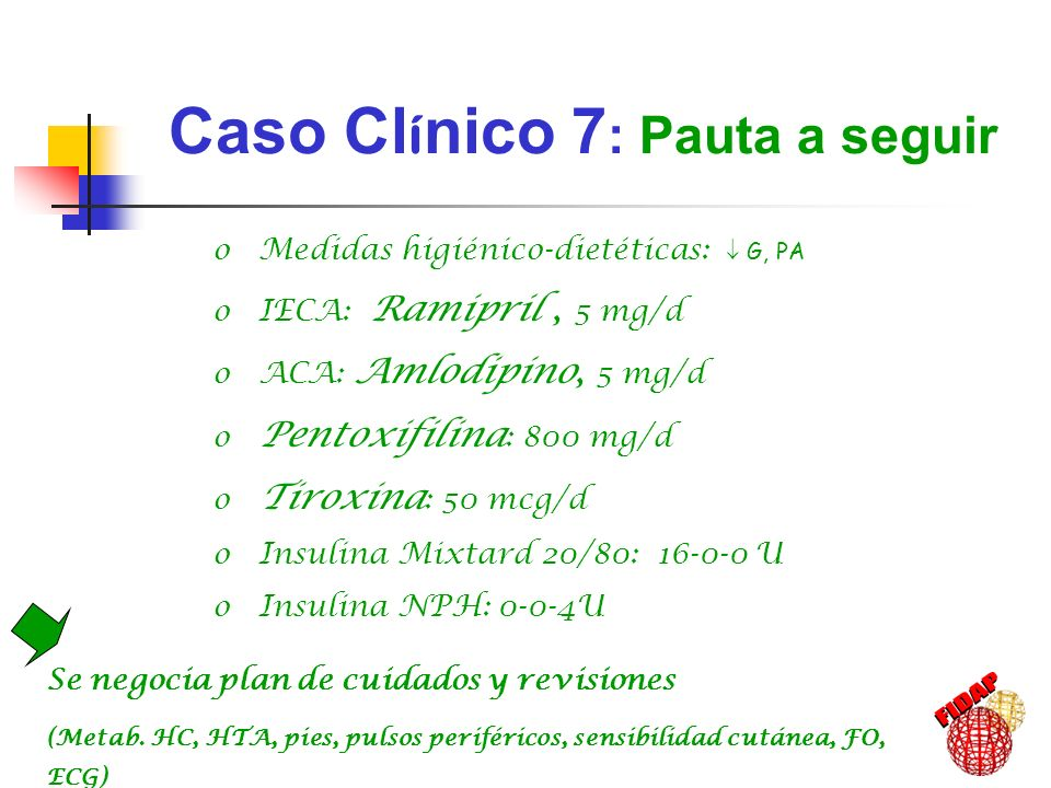IMC: 24 kg/m 2 Cifras de PA: 119-128 / 76-81 Glucemia: 134-160 mg/dl Triglicéridos: 60-71 mg/dl Colesterol total < 200 mg/dl c-LDL < 100 mg/dl c-HDL aprox.