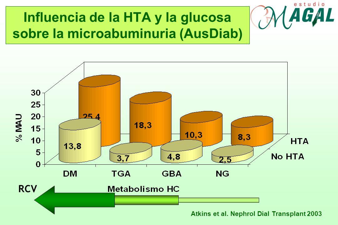 Influencia de la HTA y la glucosa sobre la microabuminuria (AusDiab) Atkins et al. Nephrol Dial Transplant 2003 RCV
