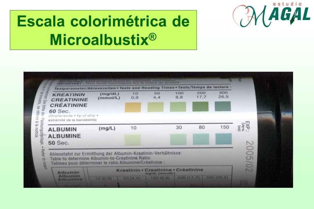Escala colorimétrica de Microalbustix ®