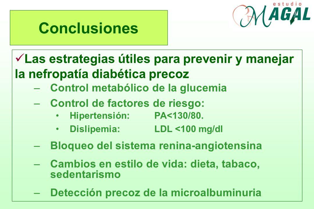 Conclusiones Las estrategias útiles para prevenir y manejar la nefropatía diabética precoz –Control metabólico de la glucemia –Control de factores de
