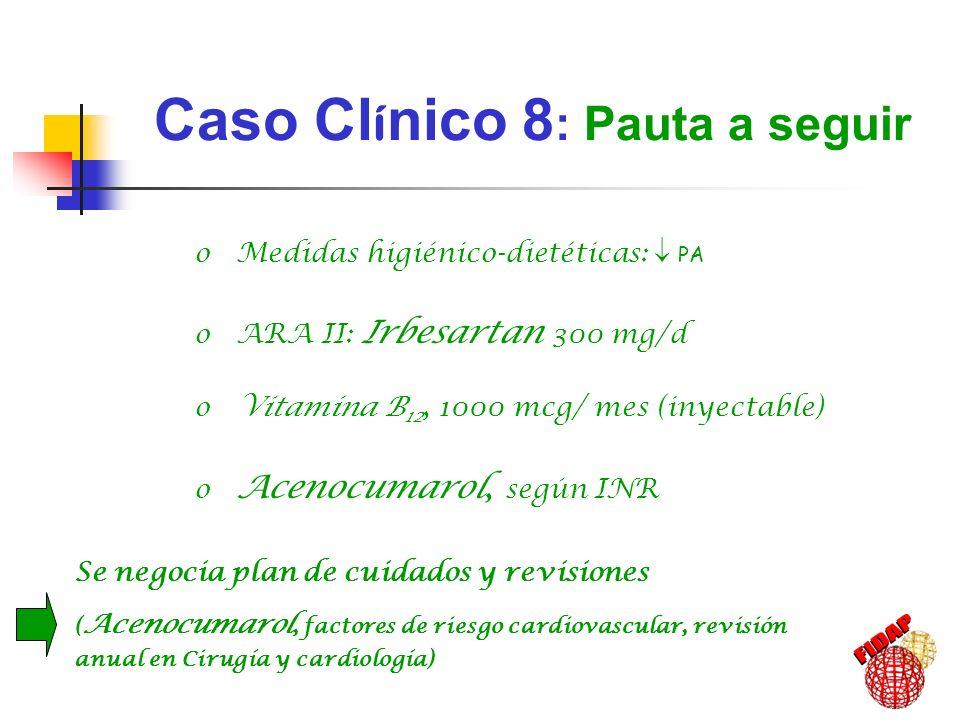Caso Cl í nico 8 : Pauta a seguir Se negocia plan de cuidados y revisiones ( Acenocumarol, factores de riesgo cardiovascular, revisión anual en Cirugí