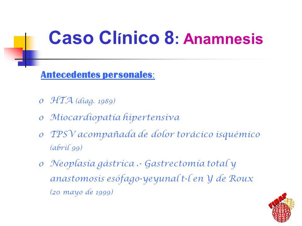 Antecedentes personales : oHTA (diag. 1989) oMiocardiopatía hipertensiva oTPSV acompañada de dolor torácico isquémico (abril 99) oNeoplasía gástrica.-