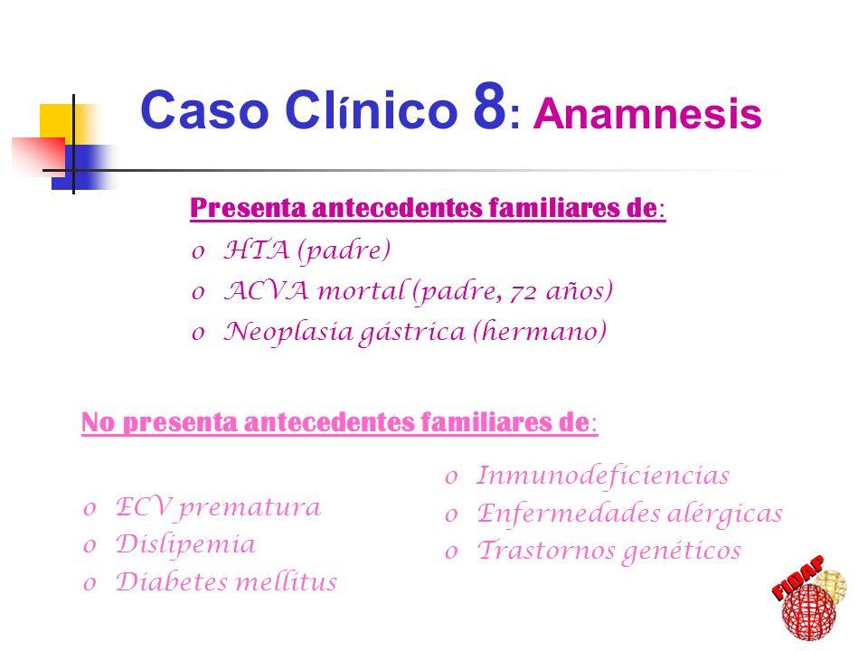 Presenta antecedentes familiares de : oHTA (padre) oACVA mortal (padre, 72 años) oNeoplasia gástrica (hermano) Caso Cl í nico 8 : Anamnesis No present