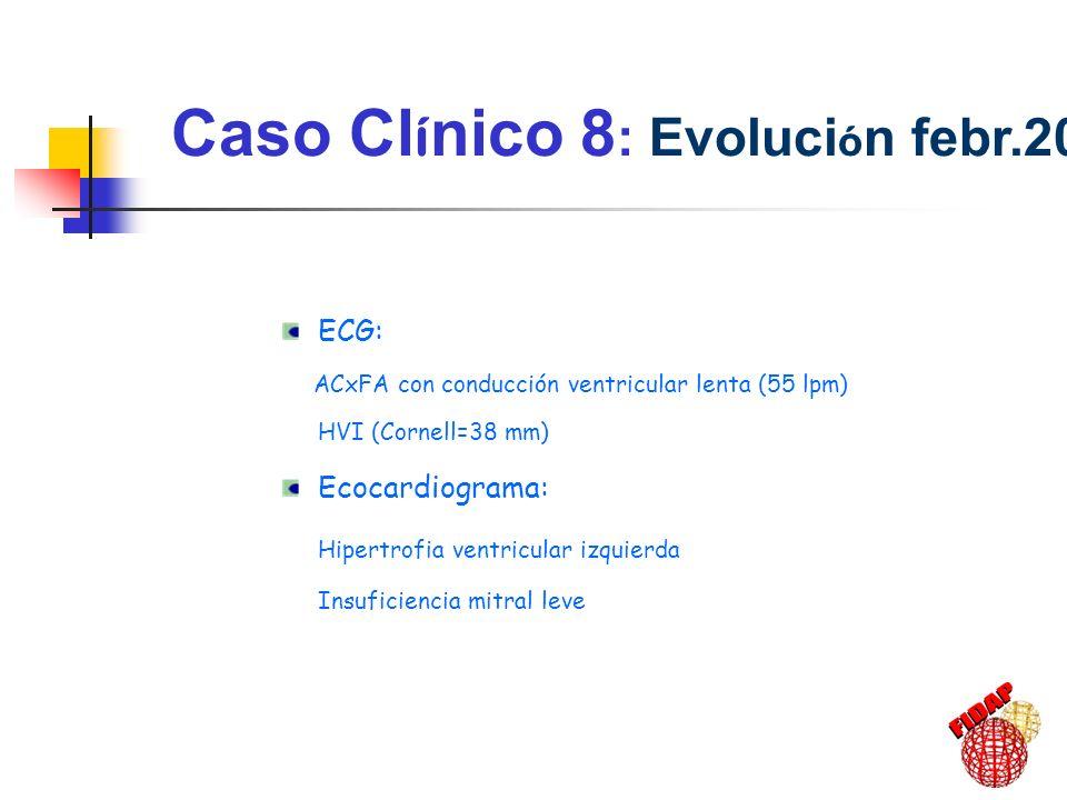 Caso Cl í nico 8 : Evoluci ó n febr.2001 ECG: ACxFA con conducción ventricular lenta (55 lpm) HVI (Cornell=38 mm) Ecocardiograma: Hipertrofia ventricu