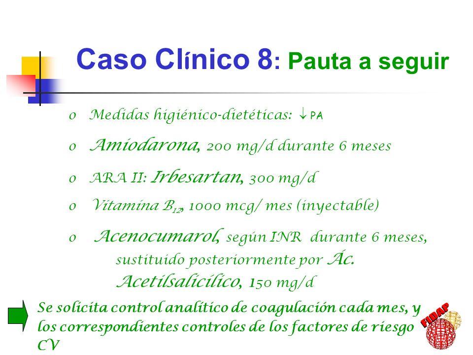 Caso Cl í nico 8 : Pauta a seguir o Medidas higiénico-dietéticas: PA o Amiodarona, 200 mg/d durante 6 meses o ARA II: Irbesartan, 300 mg/d o Vitamina