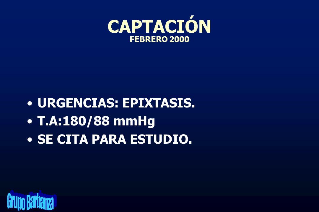 CAPTACIÓN FEBRERO 2000 URGENCIAS: EPIXTASIS. T.A:180/88 mmHg SE CITA PARA ESTUDIO.