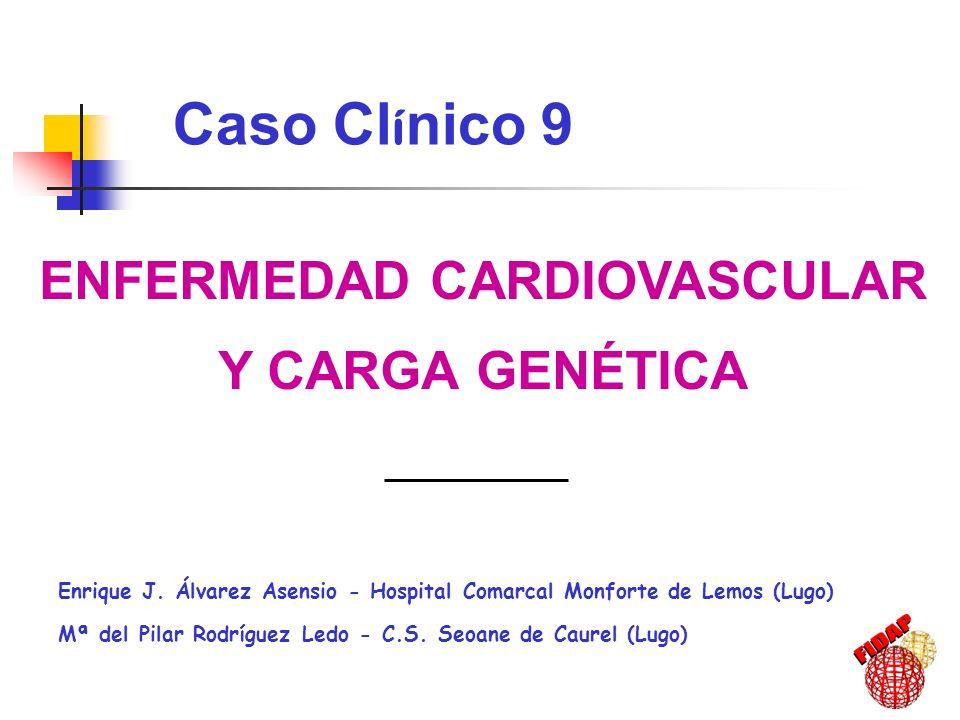 ENFERMEDAD CARDIOVASCULAR Y CARGA GENÉTICA Enrique J. Álvarez Asensio - Hospital Comarcal Monforte de Lemos (Lugo) Mª del Pilar Rodríguez Ledo - C.S.