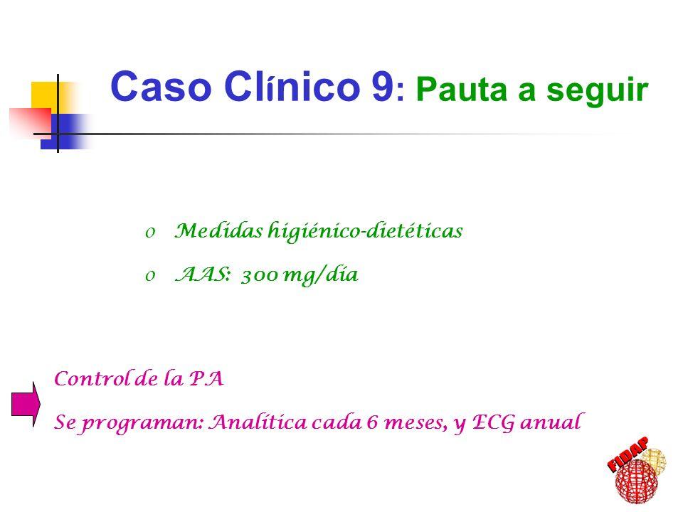 Caso Cl í nico 9 : Pauta a seguir o Medidas higiénico-dietéticas o AAS: 300 mg/día Control de la PA Se programan: Analítica cada 6 meses, y ECG anual
