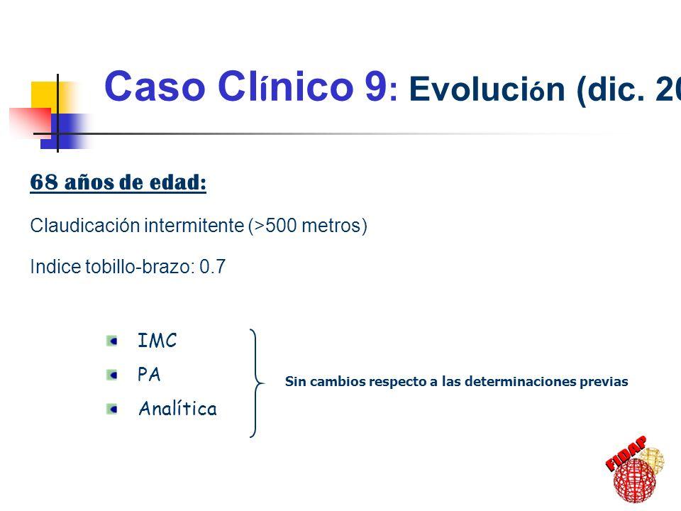 Caso Cl í nico 9 : Evoluci ó n (dic. 2002) 68 años de edad: Claudicación intermitente (>500 metros) Indice tobillo-brazo: 0.7 IMC PA Analítica Sin cam