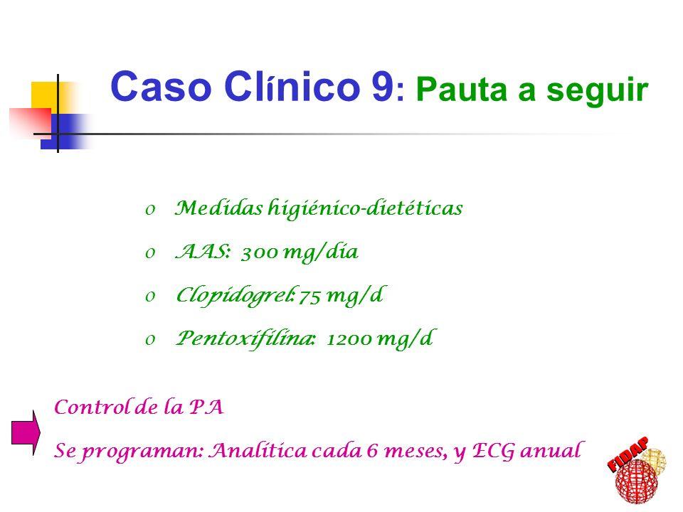 Caso Cl í nico 9 : Pauta a seguir o Medidas higiénico-dietéticas o AAS: 300 mg/día o Clopidogrel: 75 mg/d o Pentoxifilina: 1200 mg/d Control de la PA