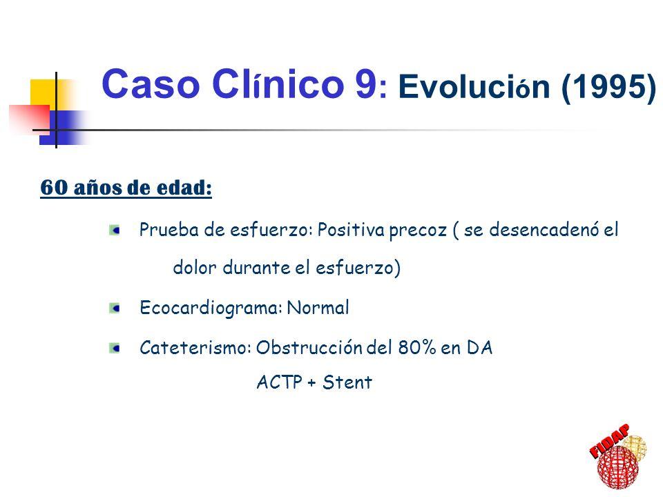Caso Cl í nico 9 : Evoluci ó n (1995) 60 años de edad: Prueba de esfuerzo: Positiva precoz ( se desencadenó el dolor durante el esfuerzo) Ecocardiogra