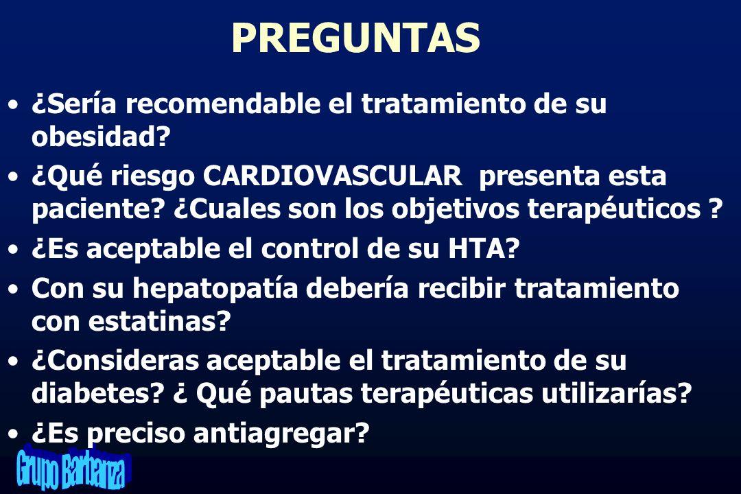 PREGUNTAS ¿Sería recomendable el tratamiento de su obesidad? ¿Qué riesgo CARDIOVASCULAR presenta esta paciente? ¿Cuales son los objetivos terapéuticos
