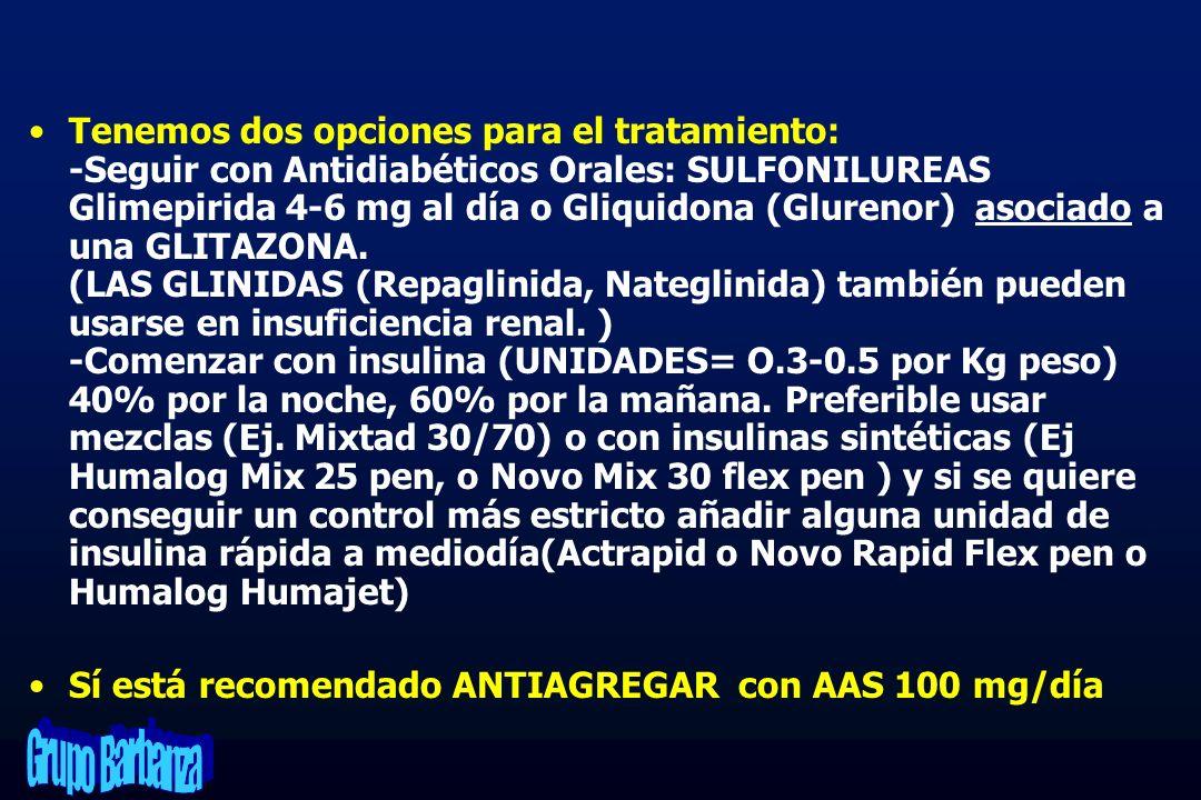 Tenemos dos opciones para el tratamiento: -Seguir con Antidiabéticos Orales: SULFONILUREAS Glimepirida 4-6 mg al día o Gliquidona (Glurenor) asociado