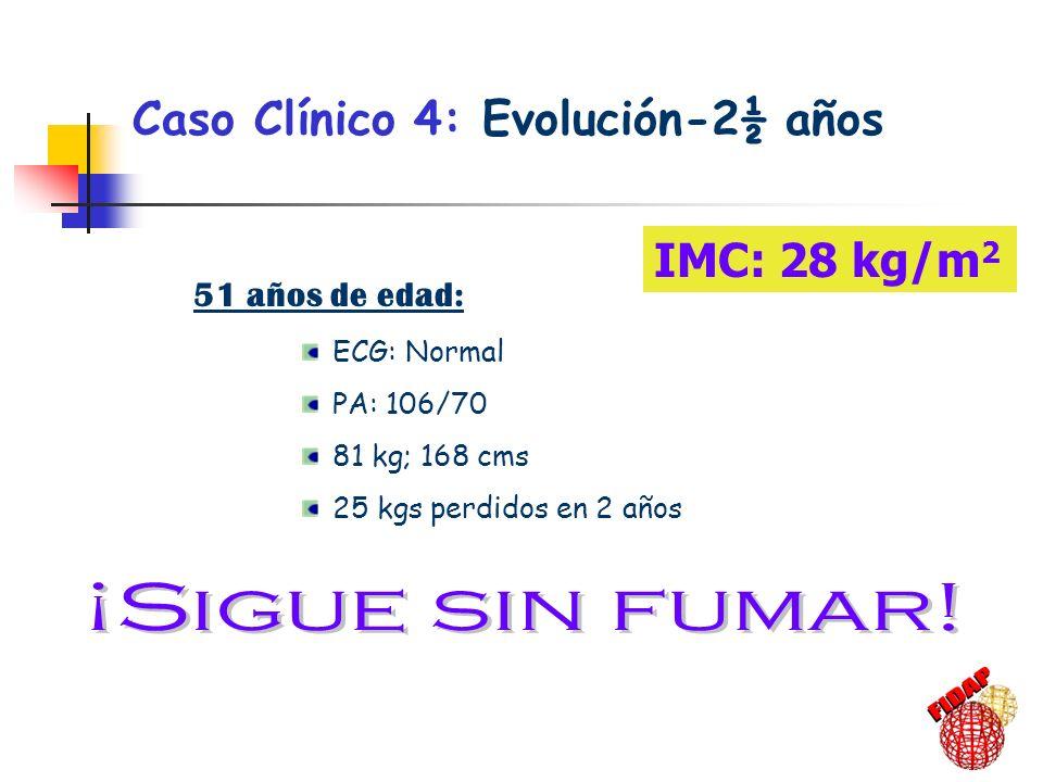 Caso Clínico 4: Evolución-2½ años 51 años de edad: ECG: Normal PA: 106/70 81 kg; 168 cms 25 kgs perdidos en 2 años IMC: 28 kg/m 2
