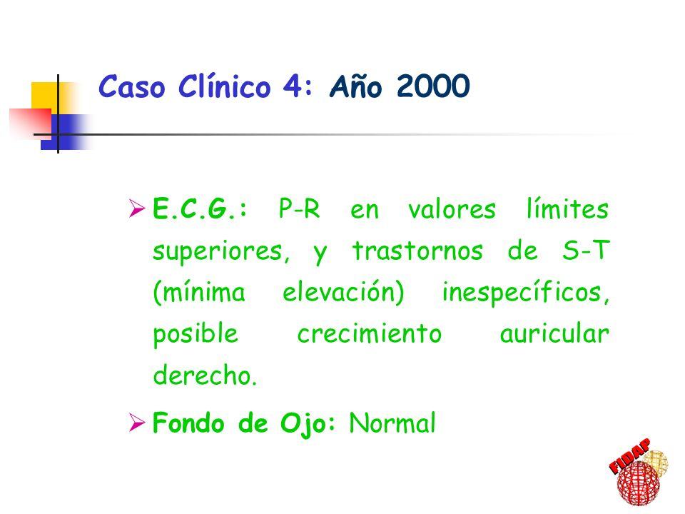 E.C.G.: P-R en valores límites superiores, y trastornos de S-T (mínima elevación) inespecíficos, posible crecimiento auricular derecho. Fondo de Ojo: