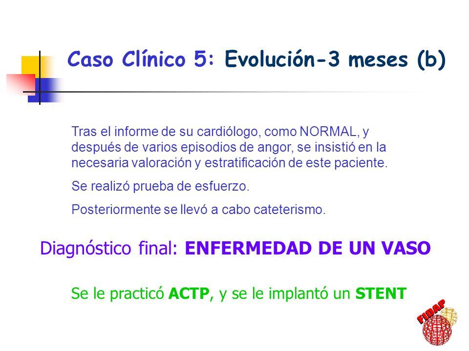 Caso Clínico 5: Evolución-3 meses (b) Tras el informe de su cardiólogo, como NORMAL, y después de varios episodios de angor, se insistió en la necesar
