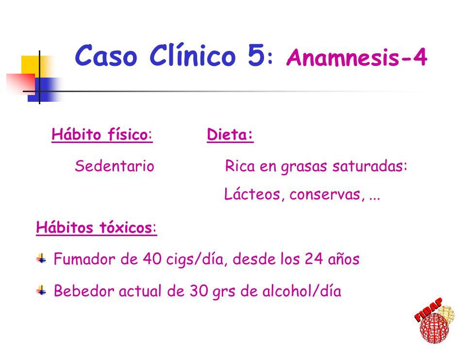 49 años de edad: IMC: 28 kg/m 2 Cifras de PA: 180-170/98 Glucemia: 96 mg/dl Triglicéridos: 393 mg/dl Colesterol total: 315 mg/dl c-LDL: 188 mg/dl c-HDL: 48 mg/dl Caso Clínico 5: Evolución-1999