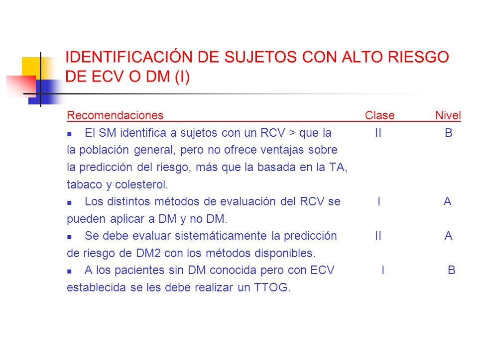 IDENTIFICACIÓN DE SUJETOS CON ALTO RIESGO DE ECV O DM (I) Recomendaciones Clase Nivel El SM identifica a sujetos con un RCV > que la II B la población
