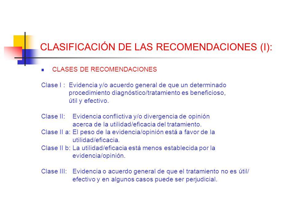 CLASIFICACIÓN DE LAS RECOMENDACIONES (I): CLASES DE RECOMENDACIONES Clase I : Evidencia y/o acuerdo general de que un determinado procedimiento diagnó