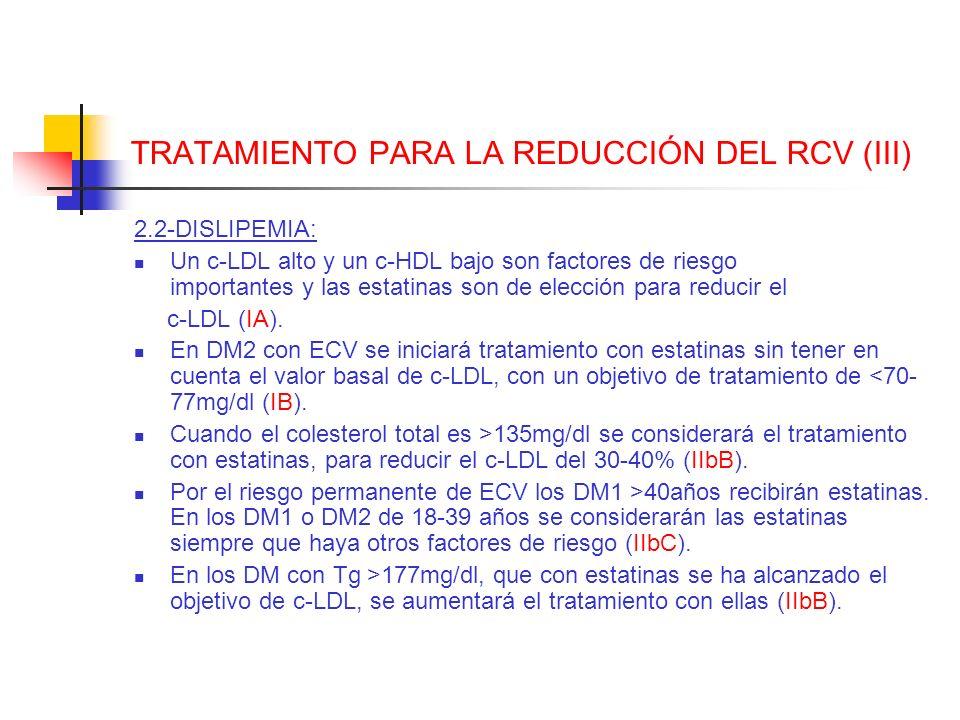 TRATAMIENTO PARA LA REDUCCIÓN DEL RCV (III) 2.2-DISLIPEMIA: Un c-LDL alto y un c-HDL bajo son factores de riesgo importantes y las estatinas son de el