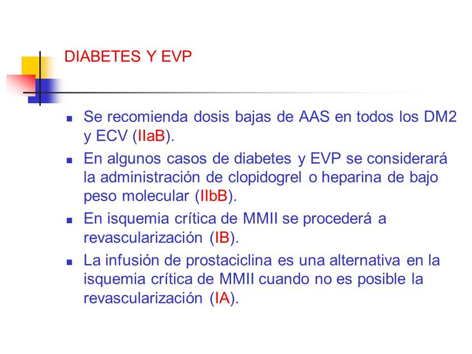 DIABETES Y EVP Se recomienda dosis bajas de AAS en todos los DM2 y ECV (IIaB). En algunos casos de diabetes y EVP se considerará la administración de