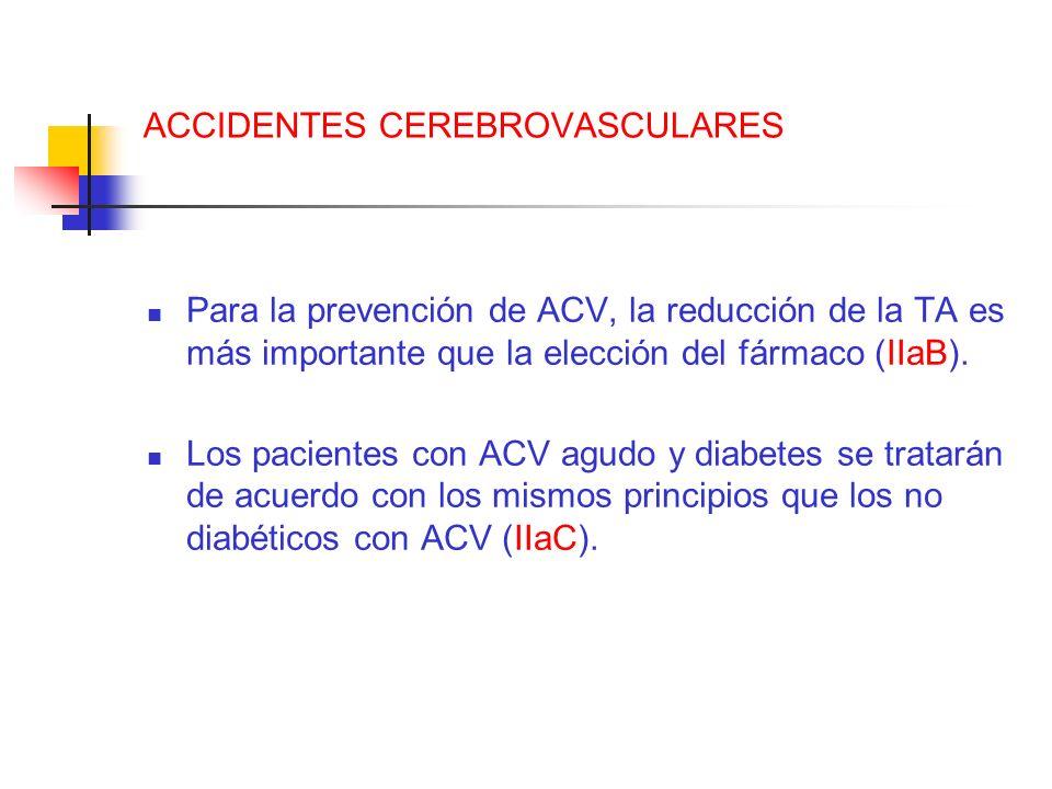 ACCIDENTES CEREBROVASCULARES Para la prevención de ACV, la reducción de la TA es más importante que la elección del fármaco (IIaB). Los pacientes con