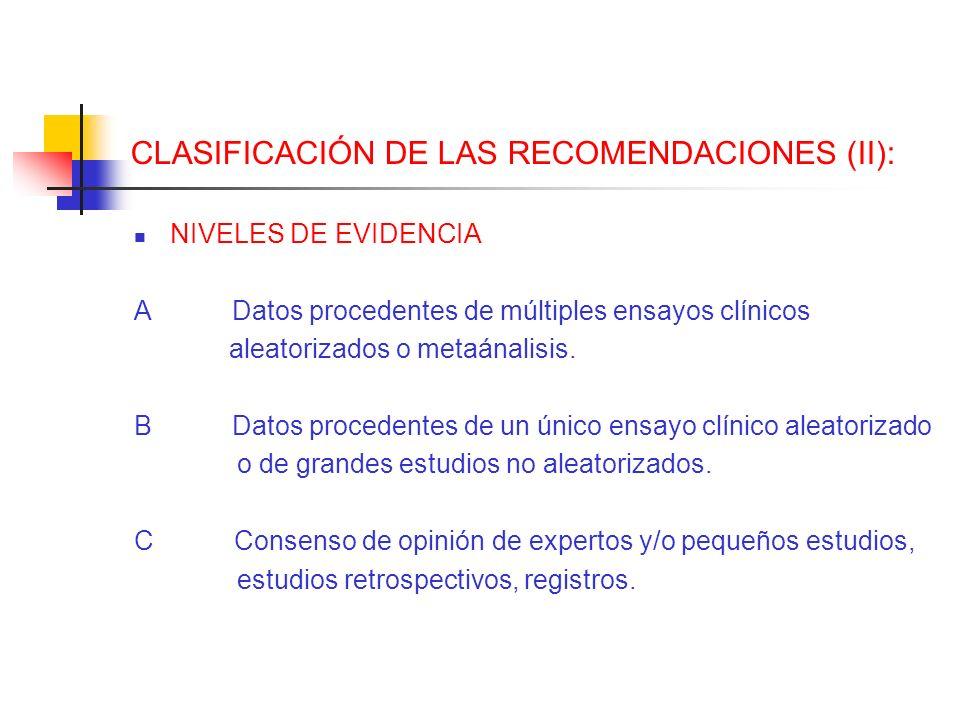 CLASIFICACIÓN DE LAS RECOMENDACIONES (II): NIVELES DE EVIDENCIA A Datos procedentes de múltiples ensayos clínicos aleatorizados o metaánalisis. B Dato