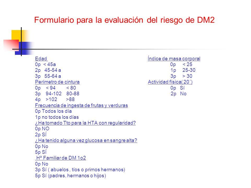 Formulario para la evaluación del riesgo de DM2 Edad Índice de masa corporal 0p < 45a 0p < 25 2p 45-54 a 1p 25-30 3p 55-64 a 3p > 30 Perímetro de cint