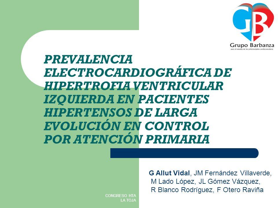 CRITERIOS ELECTROCARDIOGRÁFICOS DE HIPERTROFIA VENTRICULAR IZQUIERDA AUTORCRITERIOSENSIBILIDAD (%) ESPECIFICIDAD (%) CRITERIO DE CORNELL RaVL+SV3>28 mm (varones) RaVL+SV3>20 mm (mujeres) 4296 SOKOLOW- LYON SV1+RV5 ó RV6>35 mm 32100