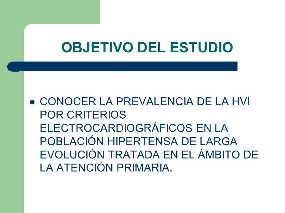 OBJETIVO DEL ESTUDIO CONOCER LA PREVALENCIA DE LA HVI POR CRITERIOS ELECTROCARDIOGRÁFICOS EN LA POBLACIÓN HIPERTENSA DE LARGA EVOLUCIÓN TRATADA EN EL