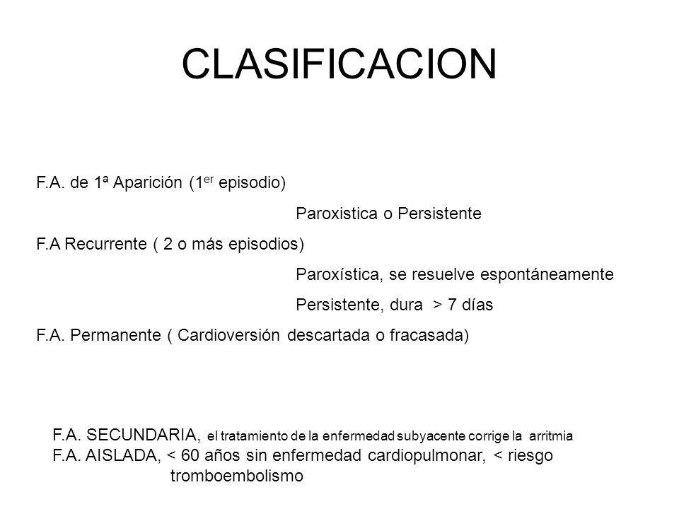 CLASIFICACION F.A. de 1ª Aparición (1 er episodio) Paroxistica o Persistente F.A Recurrente ( 2 o más episodios) Paroxística, se resuelve espontáneame