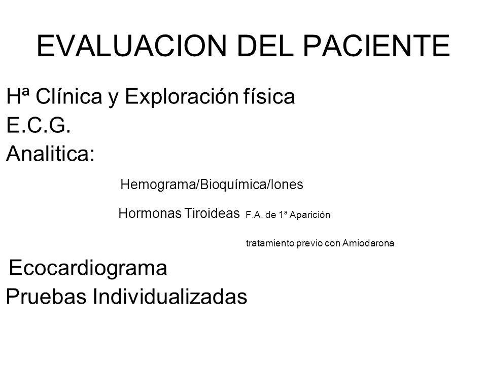 EVALUACION DEL PACIENTE Hª Clínica y Exploración física E.C.G. Analitica: Hemograma/Bioquímica/Iones Hormonas Tiroideas F.A. de 1ª Aparición tratamien