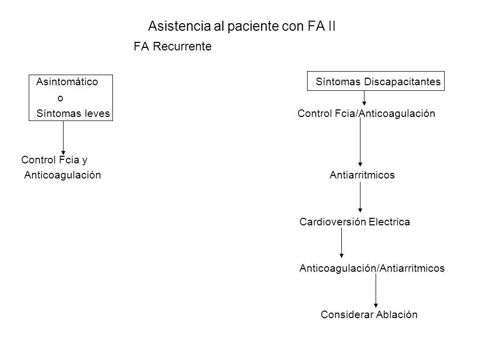 Asistencia al paciente con FA II FA Recurrente Asintomático Síntomas Discapacitantes o Síntomas leves Control Fcia/Anticoagulación Control Fcia y Anti