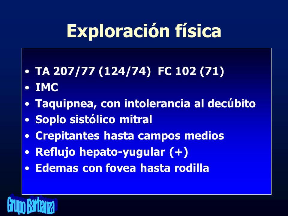 Exploración física TA 207/77 (124/74) FC 102 (71) IMC Taquipnea, con intolerancia al decúbito Soplo sistólico mitral Crepitantes hasta campos medios R