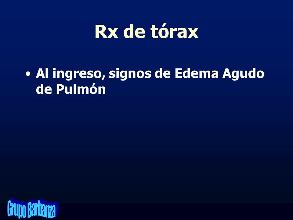 Rx de tórax Al ingreso, signos de Edema Agudo de Pulmón