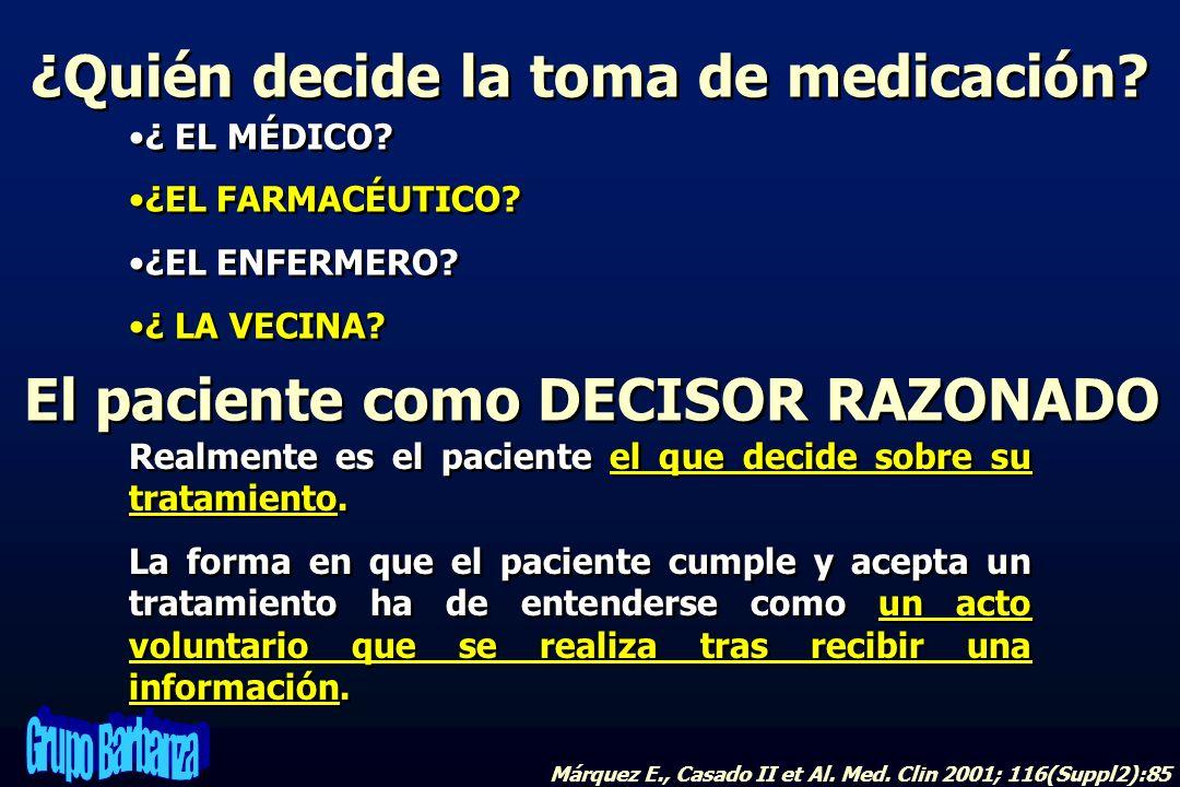 El paciente como DECISOR RAZONADO ¿Quién decide la toma de medicación? ¿ EL MÉDICO? ¿EL FARMACÉUTICO? ¿EL ENFERMERO? ¿ LA VECINA? ¿ EL MÉDICO? ¿EL FAR