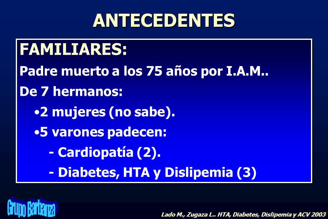 FAMILIARES: Padre muerto a los 75 años por I.A.M.. De 7 hermanos: 2 mujeres (no sabe). 5 varones padecen: - Cardiopatía (2). - Diabetes, HTA y Dislipe