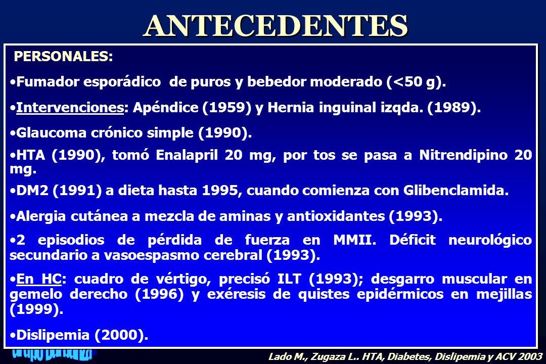 PERSONALES: Fumador esporádico de puros y bebedor moderado (<50 g). Intervenciones: Apéndice (1959) y Hernia inguinal izqda. (1989). Glaucoma crónico