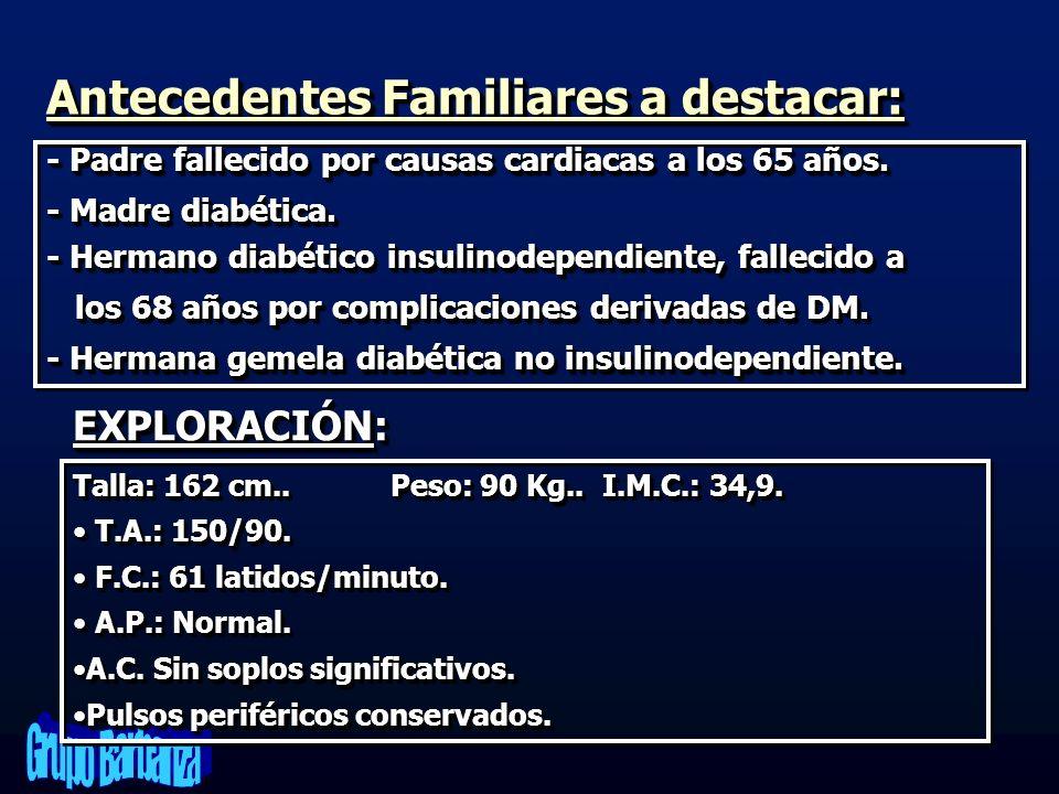 Antecedentes Familiares a destacar: - Padre fallecido por causas cardiacas a los 65 años. - Madre diabética. - Hermano diabético insulinodependiente,