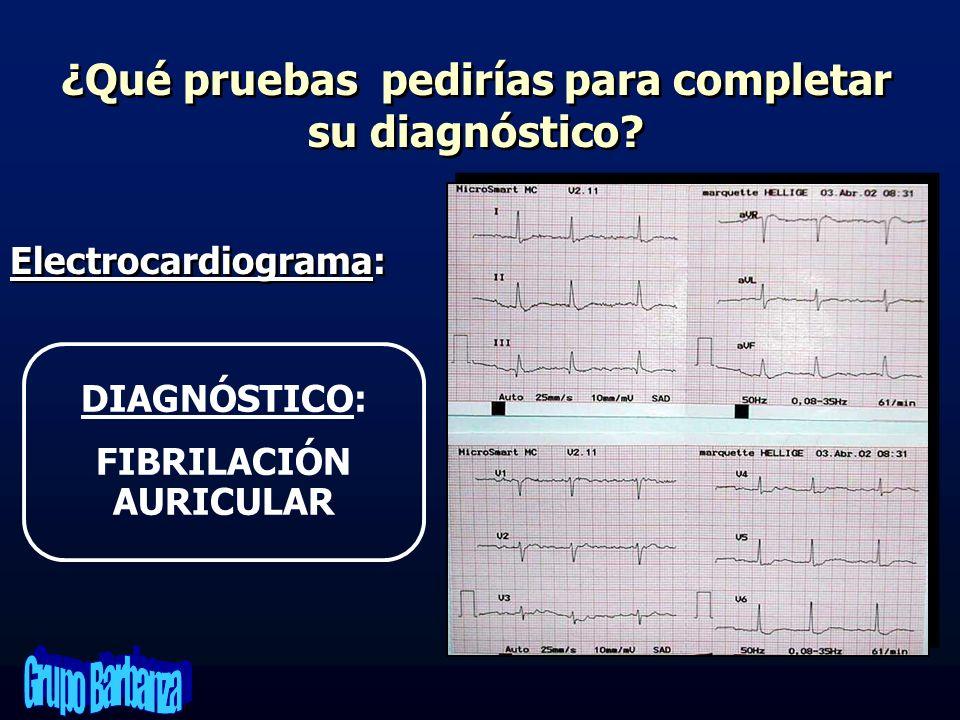 ¿Qué pruebas pedirías para completar su diagnóstico? Electrocardiograma: DIAGNÓSTICO: FIBRILACIÓN AURICULAR