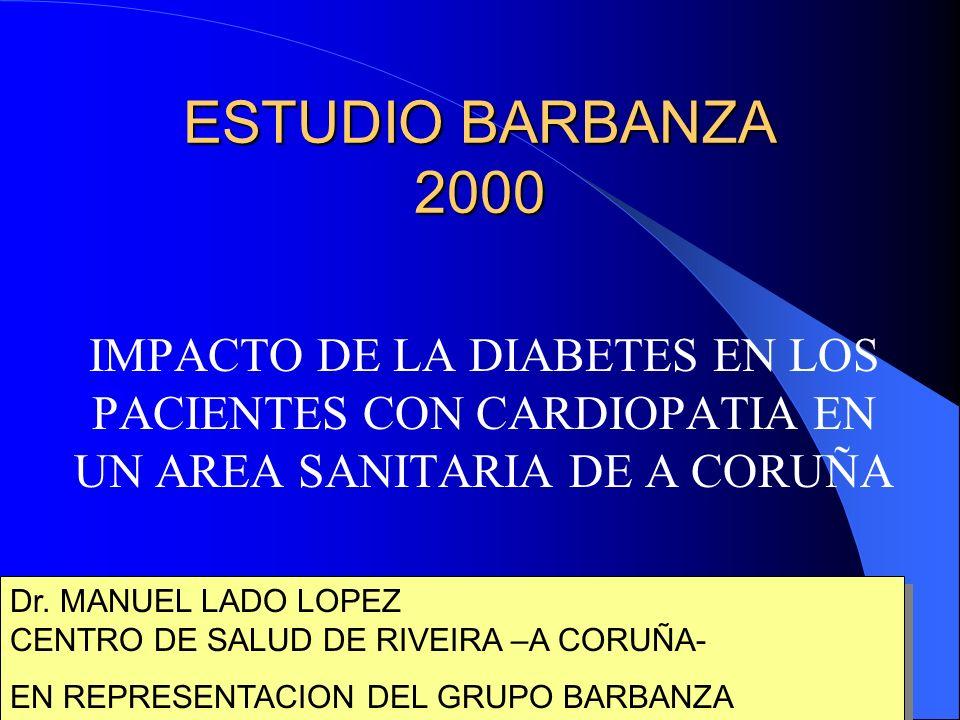 ESTUDIO BARBANZA 2000 IMPACTO DE LA DIABETES EN LOS PACIENTES CON CARDIOPATIA EN UN AREA SANITARIA DE A CORUÑA Dr.
