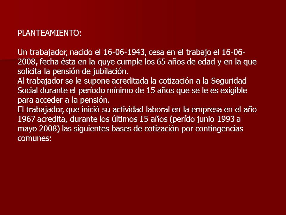 PLANTEAMIENTO: Un trabajador, nacido el 16-06-1943, cesa en el trabajo el 16-06- 2008, fecha ésta en la quye cumple los 65 años de edad y en la que so