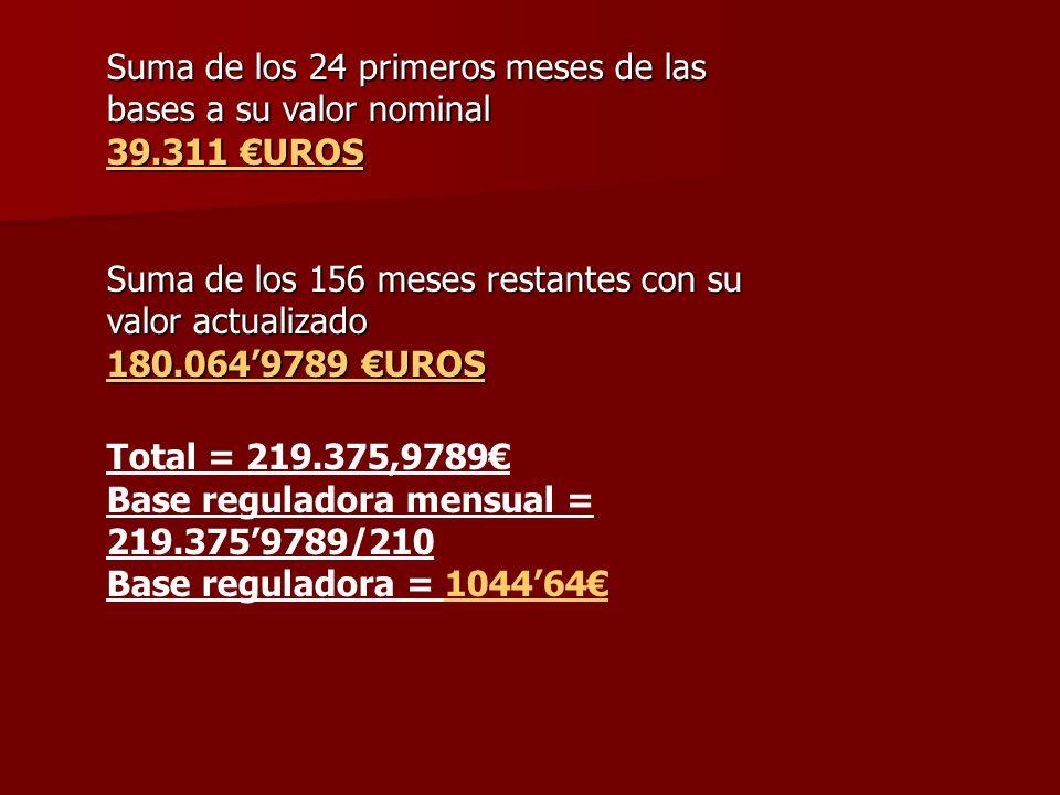 Suma de los 24 primeros meses de las bases a su valor nominal 39.311 UROS Suma de los 156 meses restantes con su valor actualizado 180.0649789 UROS To