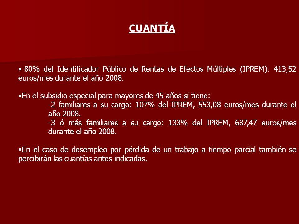 CUANTÍA 80% del Identificador Público de Rentas de Efectos Múltiples (IPREM): 413,52 euros/mes durante el año 2008.