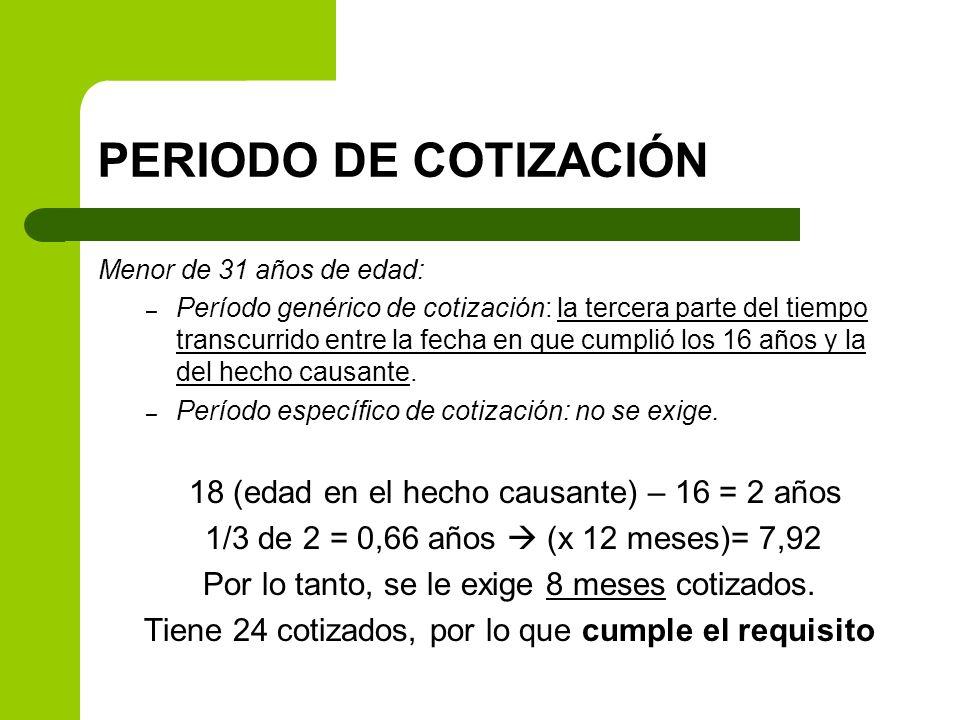 PERIODO DE COTIZACIÓN Menor de 31 años de edad: – Período genérico de cotización: la tercera parte del tiempo transcurrido entre la fecha en que cumpl
