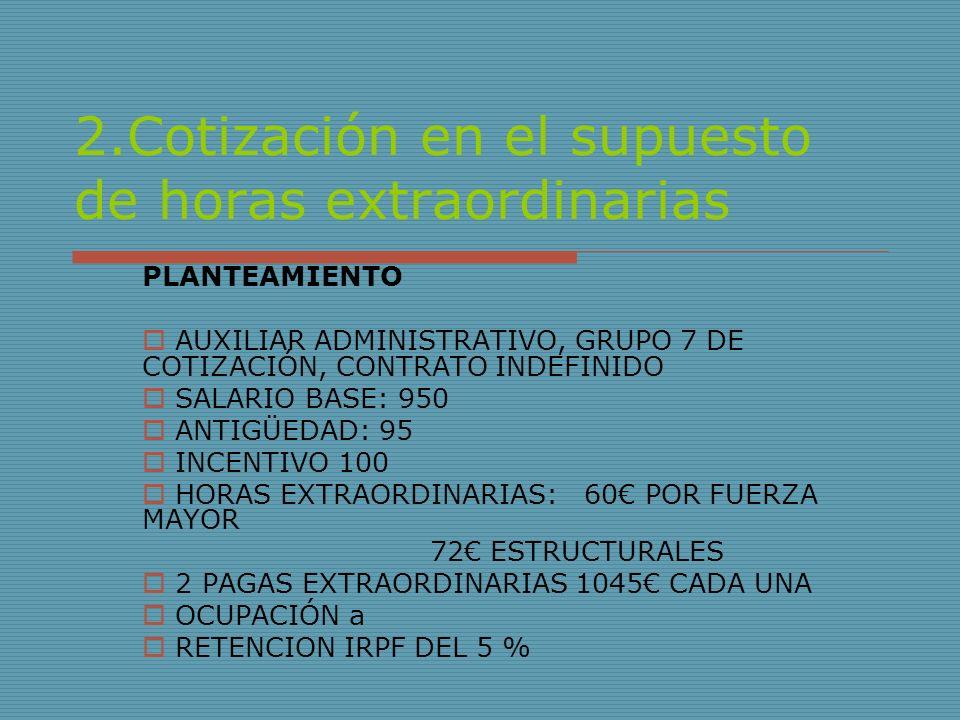 2.Cotización en el supuesto de horas extraordinarias PLANTEAMIENTO AUXILIAR ADMINISTRATIVO, GRUPO 7 DE COTIZACIÓN, CONTRATO INDEFINIDO SALARIO BASE: 9